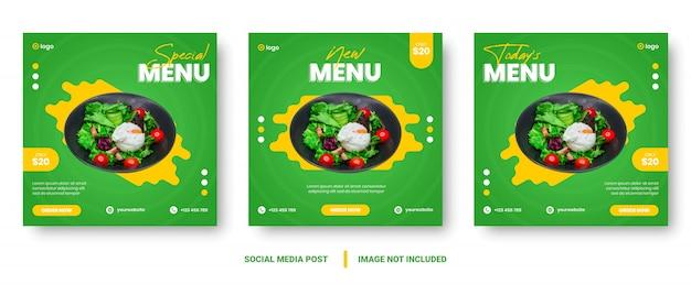 Social media post en verhalen sjabloon voor eenvoudige banner voor voedselpromotie