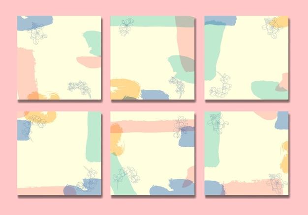 Social media post kleur penselen en bladeren lijntekeningen halverwege de eeuw