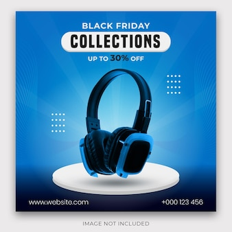 Social media post met blauwe kleur en 3d-productpodium voor black friday-verkoopbanner