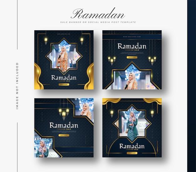 Social media post of banner template voor ramadan sale-promotie met luxe decoraties en gouden lantaarns