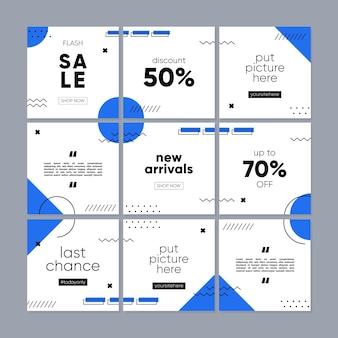 Social media post- of feedsjabloon voor promotieverkoop met geometrisch concept