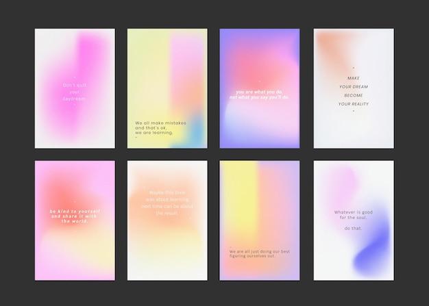 Social media post set kleurrijke achtergrond