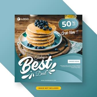 Social media post-template met restaurant speciaal menuconcept