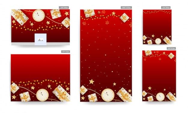 Social media poster en sjabloon collectie met bovenaanzicht van klok, gouden sterren, geschenkdozen en verlichting garland ingericht op rode achtergrond.