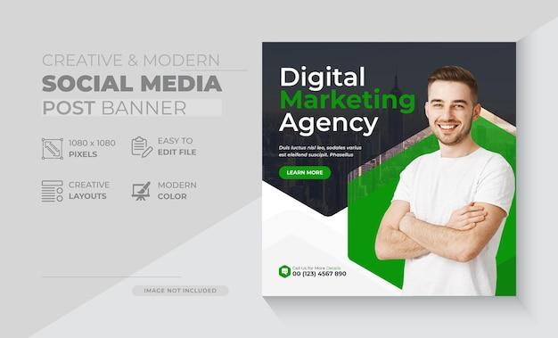 Social media-postsjablonen voor creatieve vectorvorm van digitaal marketingbureau