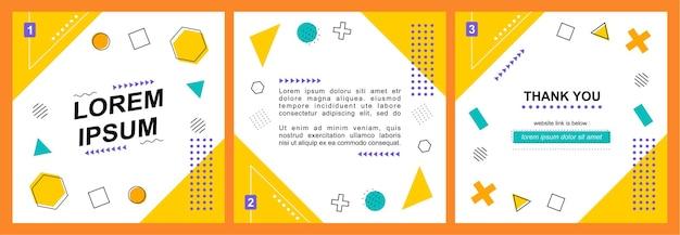 Social media postsjabloon met geometrische abstracte achtergrond
