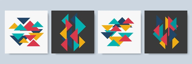 Social media postsjabloon met kleurrijke geometrische textuur. abstracte geometrische moderne sjabloon voor zakelijke of technologie presentatie, vectorillustratie