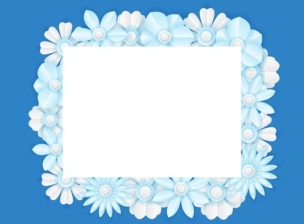 Social media postsjabloon met papier gesneden verse blauwe bloemdecoratie. moderne dynamische instagram-postsjabloon
