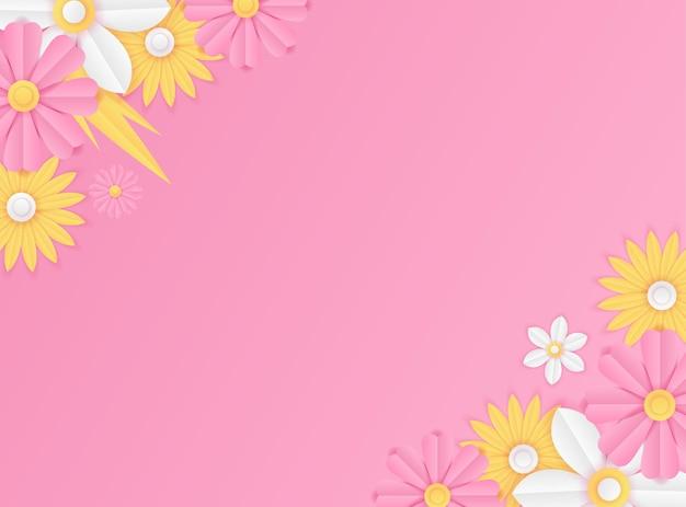 Social media postsjabloon met papier gesneden verse bloemdecoratie in roze en gele kleur. moderne dynamische instagram-postsjabloon