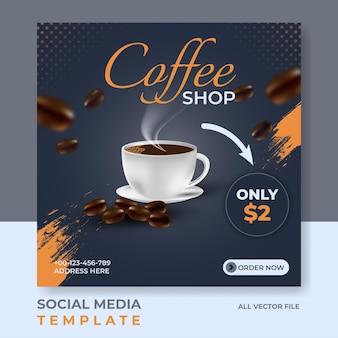 Social media postsjabloon voor coffeeshops