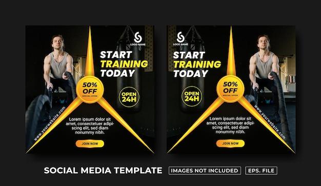Social media postsjabloon voor fitness en sportschool