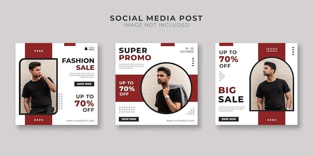 Social media postsjabloon voor herenmodewinkels