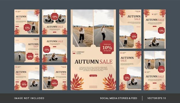 Social media postsjabloon voor herfstmode