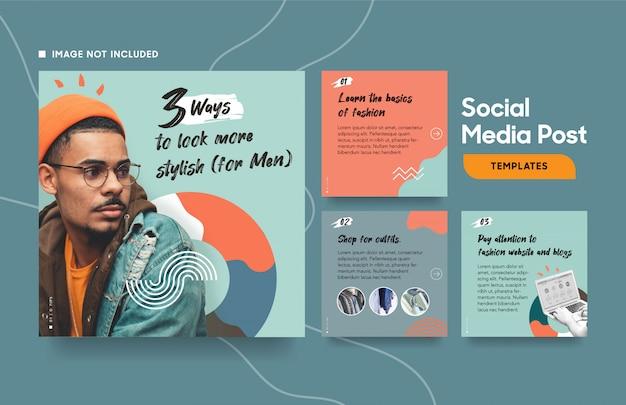 Social media postsjabloon voor mode met koele kleuren en abstracte vormen