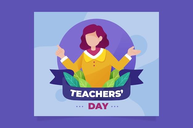 Social media postsjabloon voor platte lerarendag