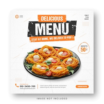 Social media postsjabloon voor promotiebanner voor voedselmenu