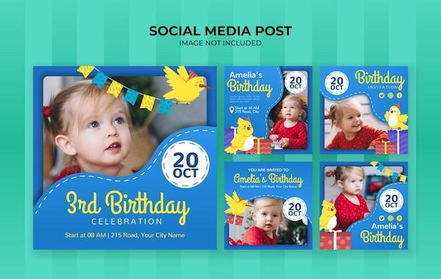 Social media postsjabloon voor verjaardagsfeestje voor kinderen