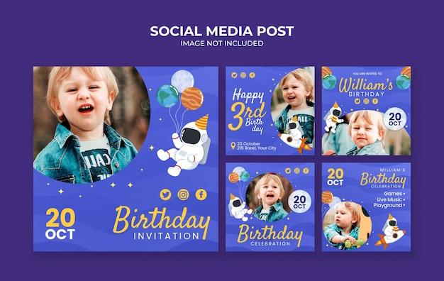Social media postsjabloon voor verjaardagsuitnodiging voor kinderen