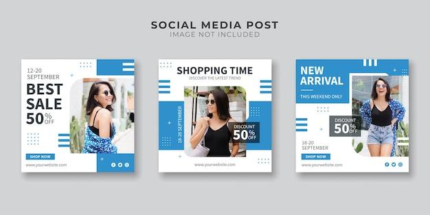 Social media postsjabloon voor winkeltijd
