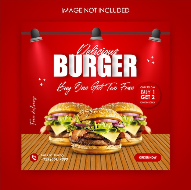 Social media promotie hamburger eten en instagram post ontwerpsjabloon