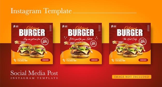 Social media promotie hamburger eten en instagram post ontwerpsjabloon