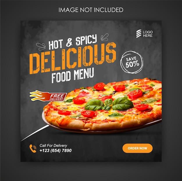 Social media promotie pizza eten en instagram post ontwerpsjabloon