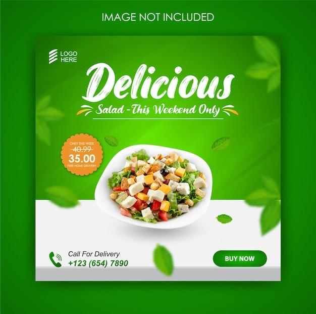 Social media promotie salade eten en instagram post ontwerpsjabloon