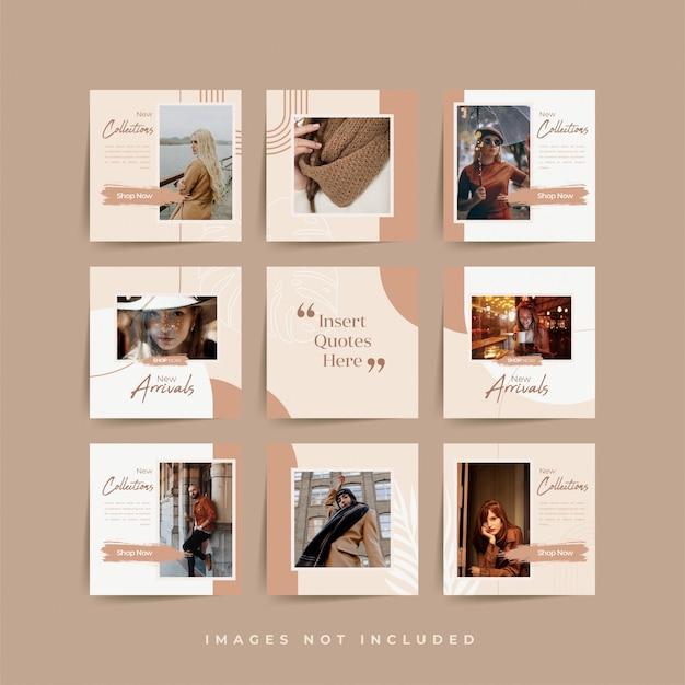 Social media puzzel frame raster post sjabloon voor mode verkoop promotie