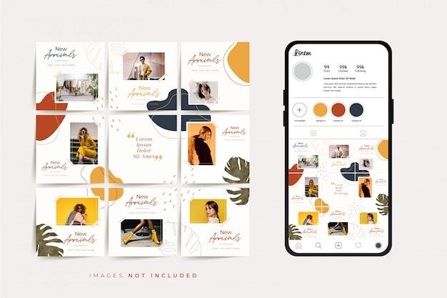 Social media puzzel frame raster postsjabloon voor promotie van modeverkoop