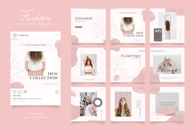 Social media sjabloon banner mode verkoop promotie. volledig bewerkbare instagram en facebook vierkante post frame puzzel organische verkoop roze