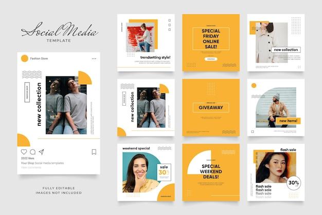 Social media sjabloon banner verkooppromotie. volledig bewerkbare instagram vierkante postkaderpuzzel.