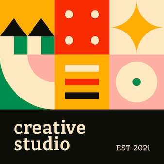 Social media sjabloon bauhaus geïnspireerd platte ontwerp creatieve studio tekst