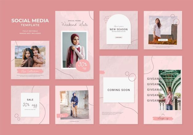 Social media sjabloon blog mode verkoop promotie. volledig bewerkbare instagram en facebook vierkante postframe organische verkoopposter. rood roze witte advertentie banner vector achtergrond