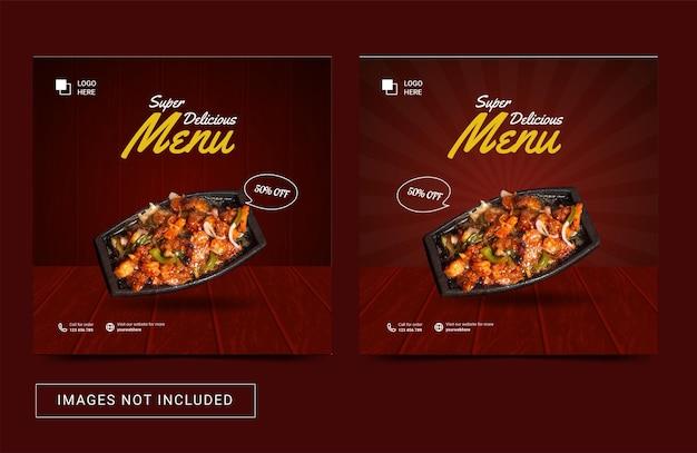 Social media sjabloon flyer post voor eten heerlijk menu premium vector