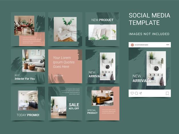 Social media sjabloon set puzzel met aquarel element voor interieur en architectuur. moderne stijl.