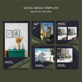 Social media-sjabloon voor architectuur en interieur. zwart donkergroene kleur.