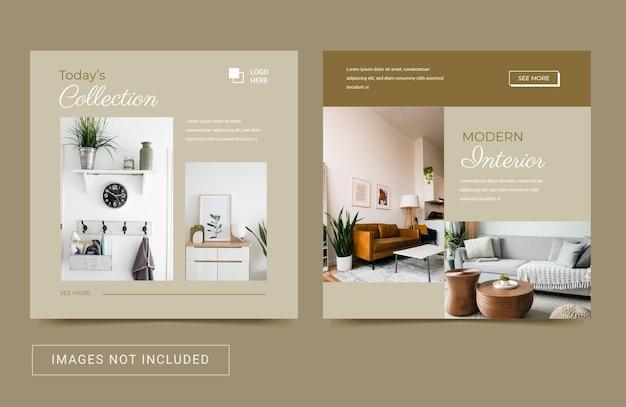 Social media-sjabloon voor architectuur onroerend goed interieurmeubilair elegante post-flyer