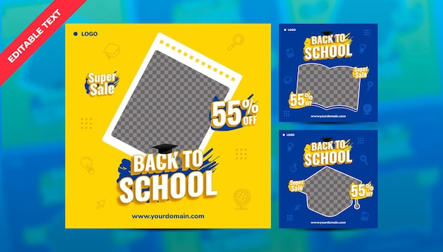 Social media-sjabloon voor back to school mega sale instagram postpack-sjabloon