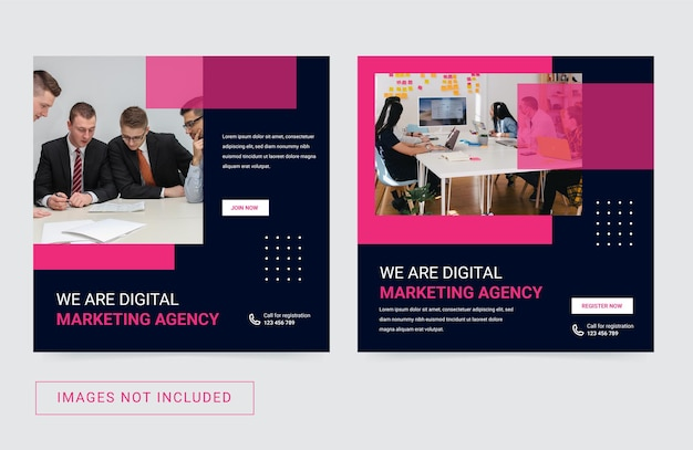 Social media-sjabloon voor digitaal marketingbureau moderne eenvoudige flyer square-postbanner