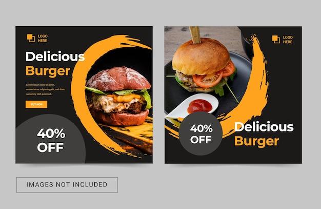 Social media sjabloon voor eten heerlijk menu culinair modern eenvoudig flyer square post banner