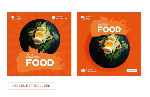 Social media sjabloon voor eten heerlijk menu instagram post promotie advertenties banner flyer