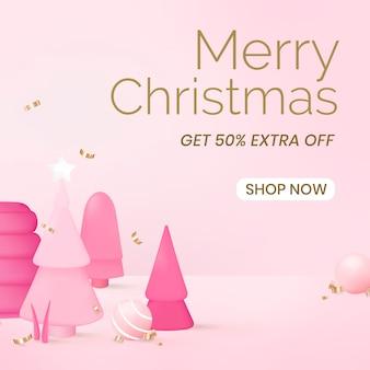 Social media-sjabloon voor kerstverkoop, online winkelen vector