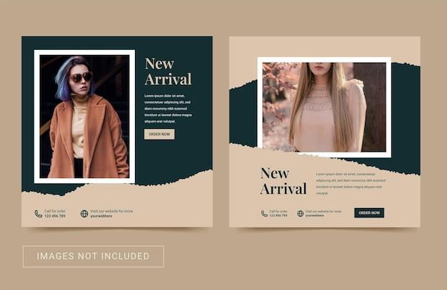 Social media sjabloon voor mode damescollectie modern eenvoudig flyer square post banne