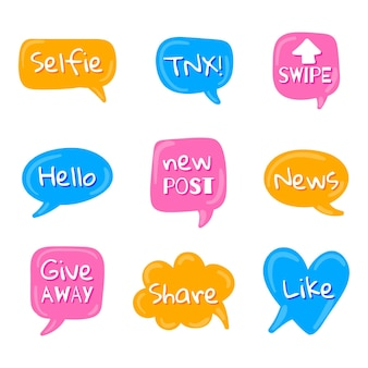 Social media slang bubbels collectie