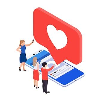 Social media smm-pictogram met 3d-afbeelding van smartphone en like-melding