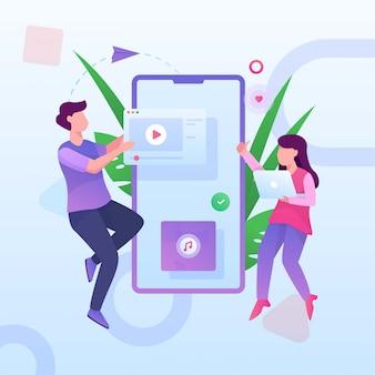 Social media spelen video en muziek