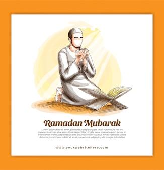 Social media square-sjabloon voor spandoek voor ramadan kareem mubarak-viering met moslimman bidt hand getrokken illustratie