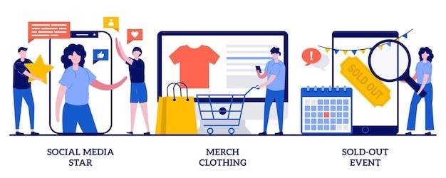 Social media-ster, merchandise-kleding, uitverkochte evenementillustratie met kleine mensen