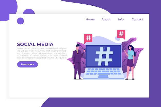 Social media-stijlconcept met karakters.