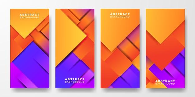 Social media stories moderne levendige geometrische oranje en blauw paars violet duotoon abstracte gradiënt concept cover poster-sjabloon voor spandoek voor futuristische technologie